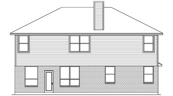 Traditional House Plan 89892 with 5 Beds, 3 Baths, 2 Car Garage Rear Elevation