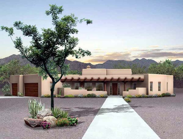 Santa Fe, Southwest House Plan 90211 with 3 Beds, 3 Baths, 3 Car Garage Elevation
