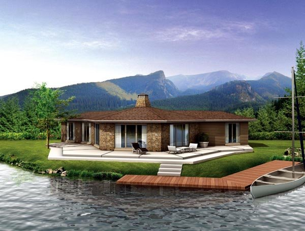 Contemporary, Ranch House Plan 90242 with 3 Beds, 2 Baths Elevation