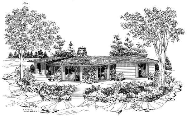 Contemporary, Ranch House Plan 90242 with 3 Beds, 2 Baths Picture 1