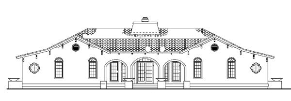 Mediterranean, Ranch, Southwest House Plan 90269 with 4 Beds, 4 Baths Rear Elevation