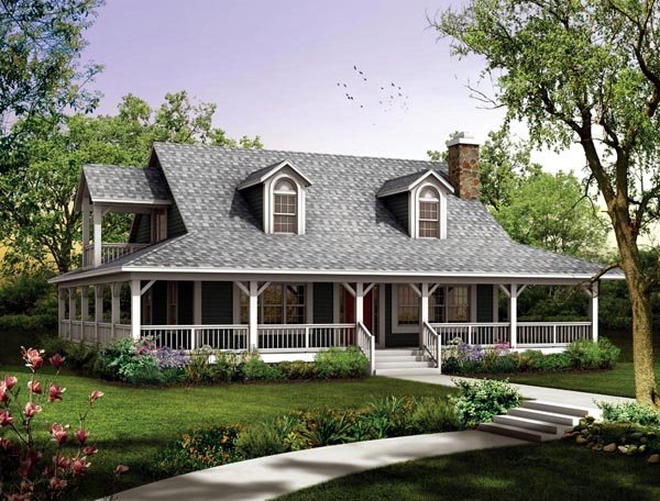 Country, Farmhouse House Plan 90280 with 3 Beds, 2 Baths Elevation