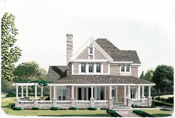 Country, Farmhouse, Victorian House Plan 90331 with 4 Beds, 3 Baths, 2 Car Garage Elevation