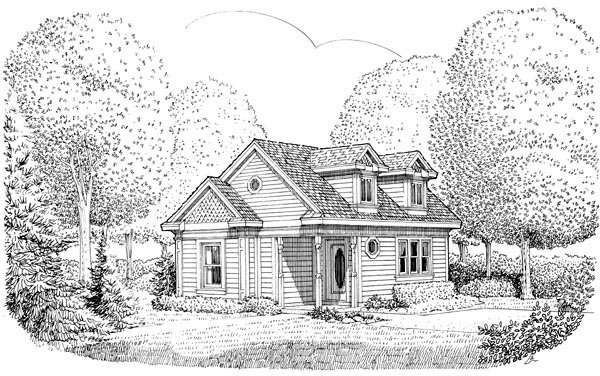 Cottage, Country, Narrow Lot, Victorian House Plan 90362 with 1 Beds, 1 Baths Elevation