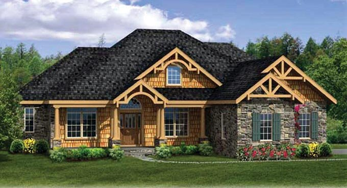 Country, Craftsman, Ranch House Plan 90607 with 4 Beds, 4 Baths, 3 Car Garage Elevation