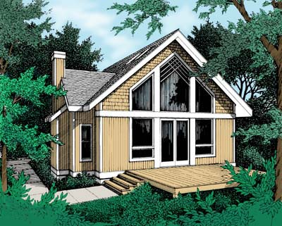 Contemporary, Narrow Lot House Plan 90707 with 1 Beds, 1 Baths Elevation