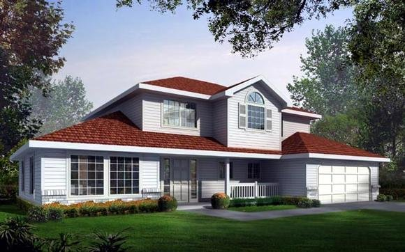 Country, Traditional House Plan 90708 with 4 Beds, 3 Baths, 2 Car Garage Elevation