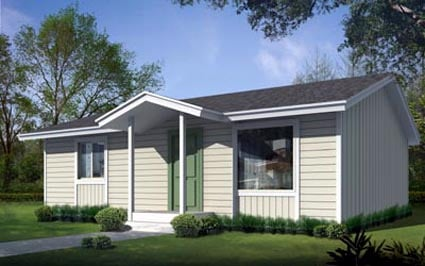 Cabin, Ranch House Plan 90756 with 2 Beds, 1 Baths Elevation