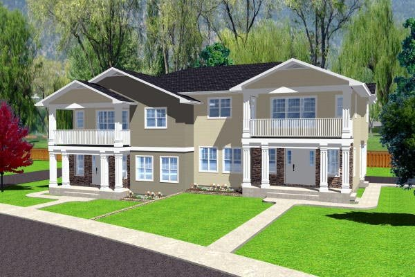 Multi-Family Plan 90888 with 10 Beds, 6 Baths, 4 Car Garage Elevation