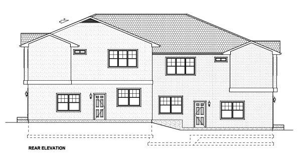 Multi-Family Plan 90888 with 10 Beds, 6 Baths, 4 Car Garage Rear Elevation