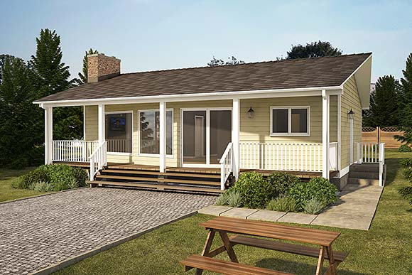 Cabin House Plan 90934 with 2 Beds, 1 Baths Elevation