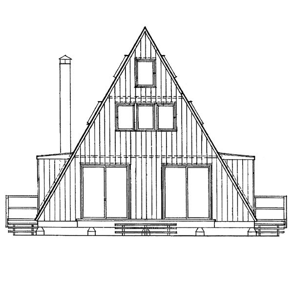 A-Frame, Contemporary House Plan 91209 with 3 Beds, 2 Baths Rear Elevation
