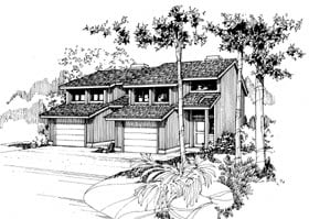 Contemporary Multi-Family Plan 91324 with 6 Beds, 4 Baths, 2 Car Garage Elevation
