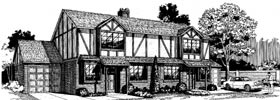 Tudor Multi-Family Plan 91334 with 4 Beds, 4 Baths, 2 Car Garage Elevation