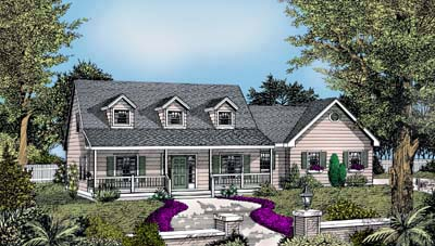 Cape Cod, Country, Farmhouse House Plan 91638 with 3 Beds, 3 Baths, 2 Car Garage Elevation