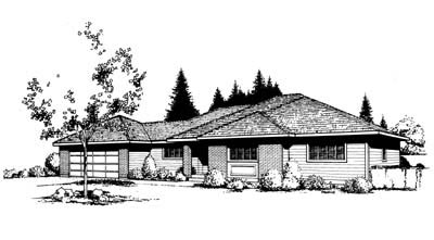 Contemporary, Prairie, Southwest House Plan 91649 with 3 Beds, 2 Baths, 2 Car Garage Elevation