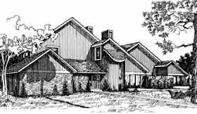 Contemporary Multi-Family Plan 92297 with 4 Beds, 3 Baths, 2 Car Garage Elevation