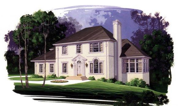 European House Plan 92361 with 4 Beds, 3 Baths, 2 Car Garage Elevation