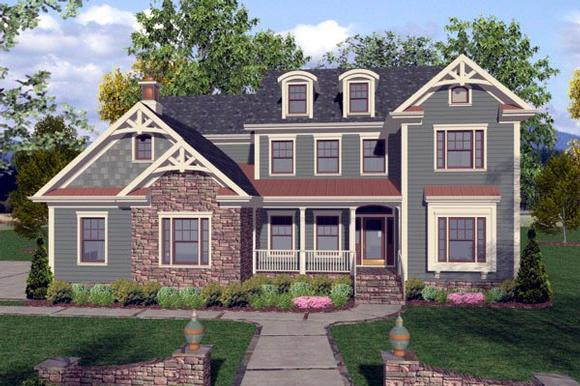 Craftsman, Traditional House Plan 92390 with 4 Beds, 4 Baths, 3 Car Garage Elevation