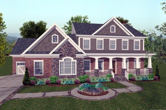 Colonial, Craftsman, Traditional House Plan 92392 with 4 Beds, 5 Baths, 3 Car Garage Elevation