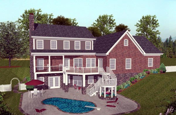 Colonial, Craftsman, Traditional House Plan 92392 with 4 Beds, 5 Baths, 3 Car Garage Rear Elevation