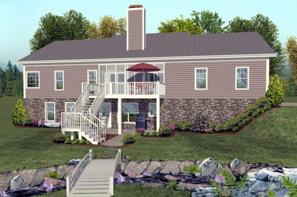 Ranch House Plan 92395 with 2 Beds, 3 Baths, 3 Car Garage Rear Elevation