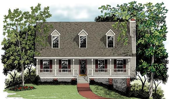 Cape Cod, Country House Plan 92423 with 3 Beds, 3 Baths, 2 Car Garage Elevation