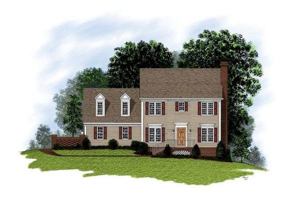 Cape Cod, Colonial House Plan 92488 with 3 Beds, 3 Baths, 2 Car Garage Elevation