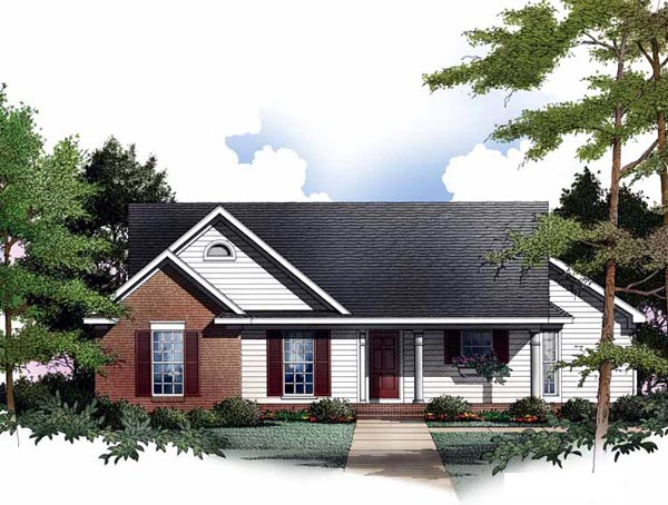 Cabin, One-Story, Ranch House Plan 93075 with 3 Beds, 2 Baths, 2 Car Garage Elevation