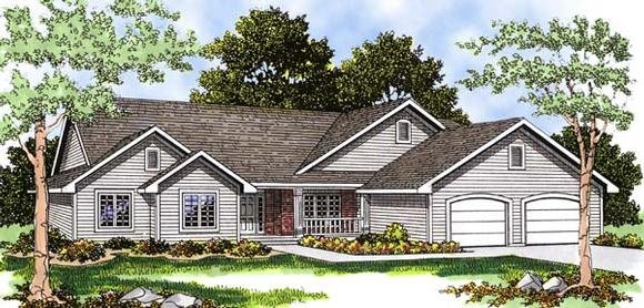 One-Story, Ranch House Plan 93193 with 3 Beds, 3 Baths, 3 Car Garage Elevation