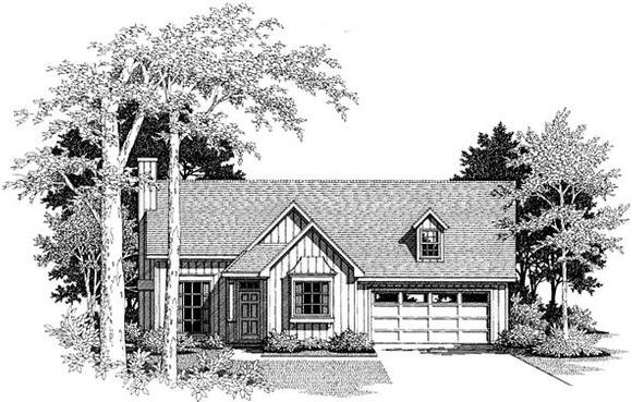 Cabin, One-Story, Ranch House Plan 93403 with 3 Beds, 2 Baths, 2 Car Garage Elevation