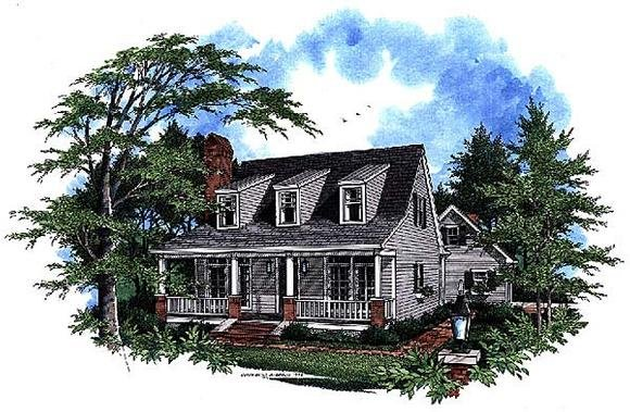 Cape Cod, Country House Plan 93412 with 3 Beds, 3 Baths, 2 Car Garage Elevation