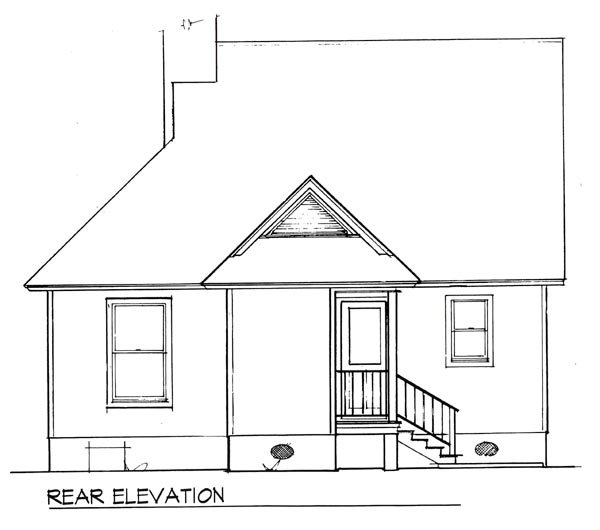 Cabin, Cape Cod House Plan 93422 with 2 Beds, 1 Baths Rear Elevation