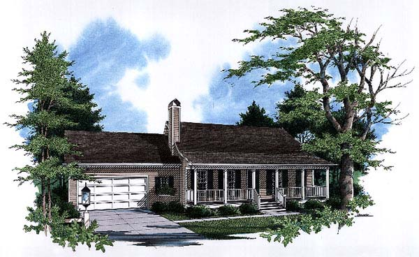 Country, One-Story, Ranch House Plan 93449 with 3 Beds, 2 Baths, 2 Car Garage Elevation