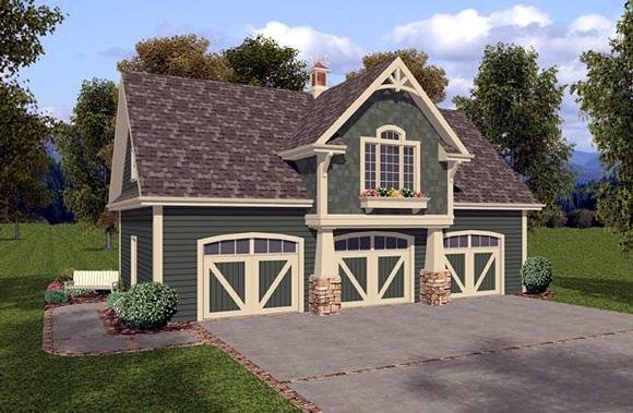 3 Car Garage Apartment Plan 93473 with 1 Beds, 1 Baths Elevation