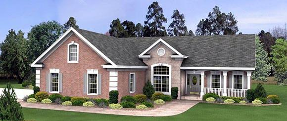 Ranch, Traditional House Plan 93486 with 3 Beds, 3 Baths, 3 Car Garage Elevation