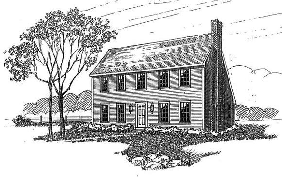 Colonial, Saltbox House Plan 94007 with 4 Beds, 2 Baths Elevation