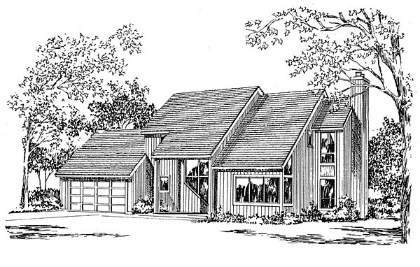 Contemporary House Plan 94010 with 3 Beds, 3 Baths, 2 Car Garage Elevation