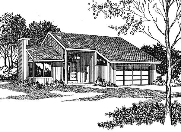 Contemporary House Plan 94011 with 3 Beds, 2 Baths, 2 Car Garage Elevation