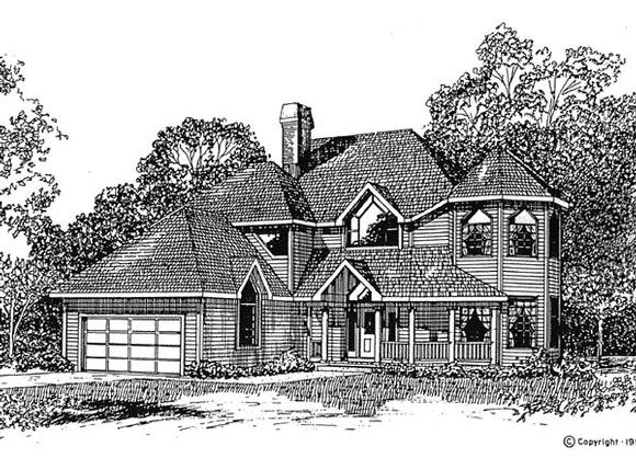 Contemporary, Victorian House Plan 94017 with 4 Beds, 3 Baths, 2 Car Garage Elevation