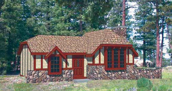 Cabin, Tudor House Plan 94329 with 2 Beds, 1 Baths Elevation