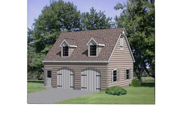 2 Car Garage Plan 94346 with 1 Beds, 1 Baths Elevation