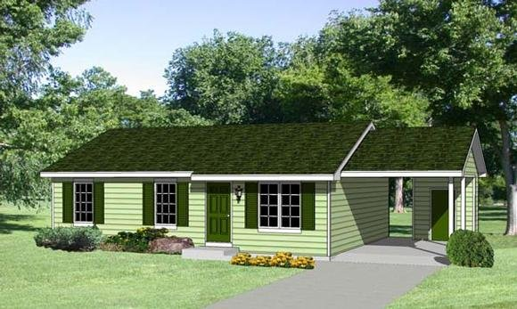 Ranch House Plan 94365 with 3 Beds, 2 Baths, 1 Car Garage Elevation