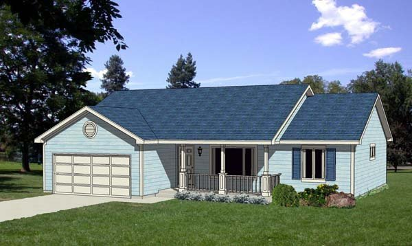Ranch, Traditional House Plan 94385 with 3 Beds, 2 Baths, 2 Car Garage Elevation