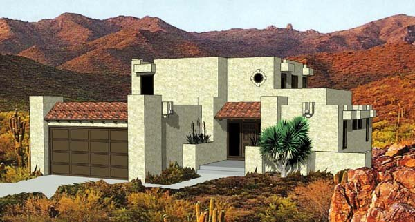 House Plan 94423 Southwest Style With 1583 Sq Ft 3 Bed 3 Bath