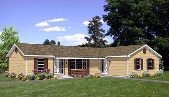 Traditional Multi-Family Plan 94477 with 4 Beds, 2 Baths Elevation