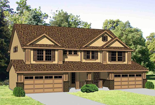 Traditional Multi-Family Plan 94478 with 6 Beds, 6 Baths, 4 Car Garage Elevation