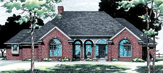 European, One-Story House Plan 94973 with 2 Beds, 3 Baths, 3 Car Garage Elevation