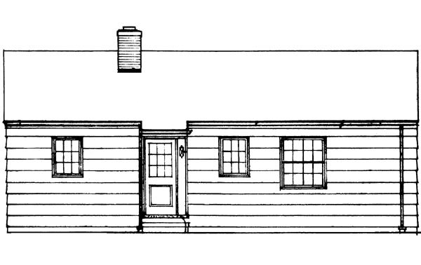 Colonial, One-Story, Ranch, Retro House Plan 95000 with 3 Beds, 2 Baths Rear Elevation