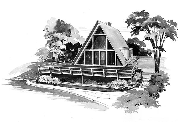 A-Frame, Contemporary, Retro House Plan 95004 with 2 Beds, 1 Baths Elevation